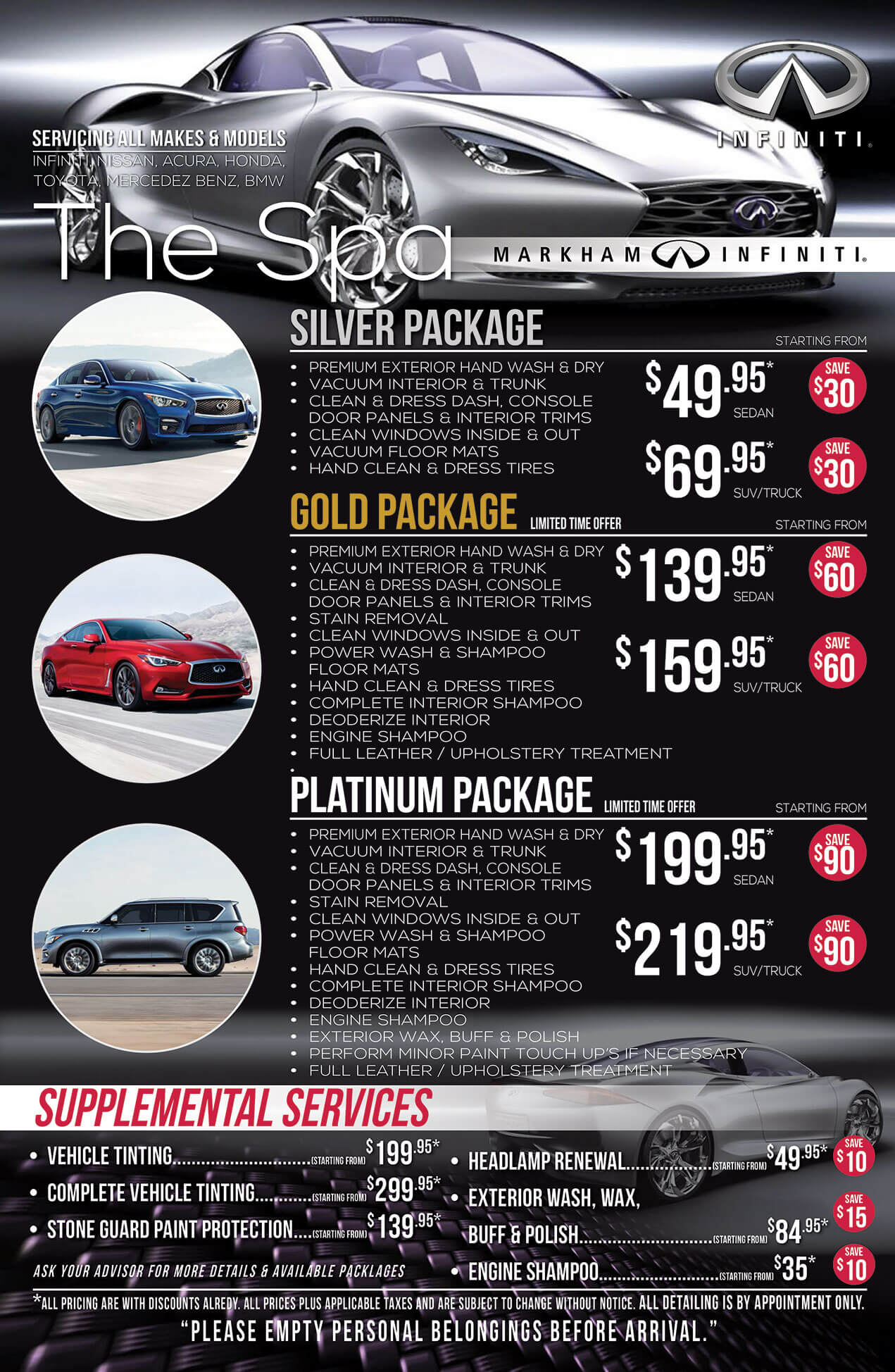 Detailing Packages at Markham Infiniti in Markham