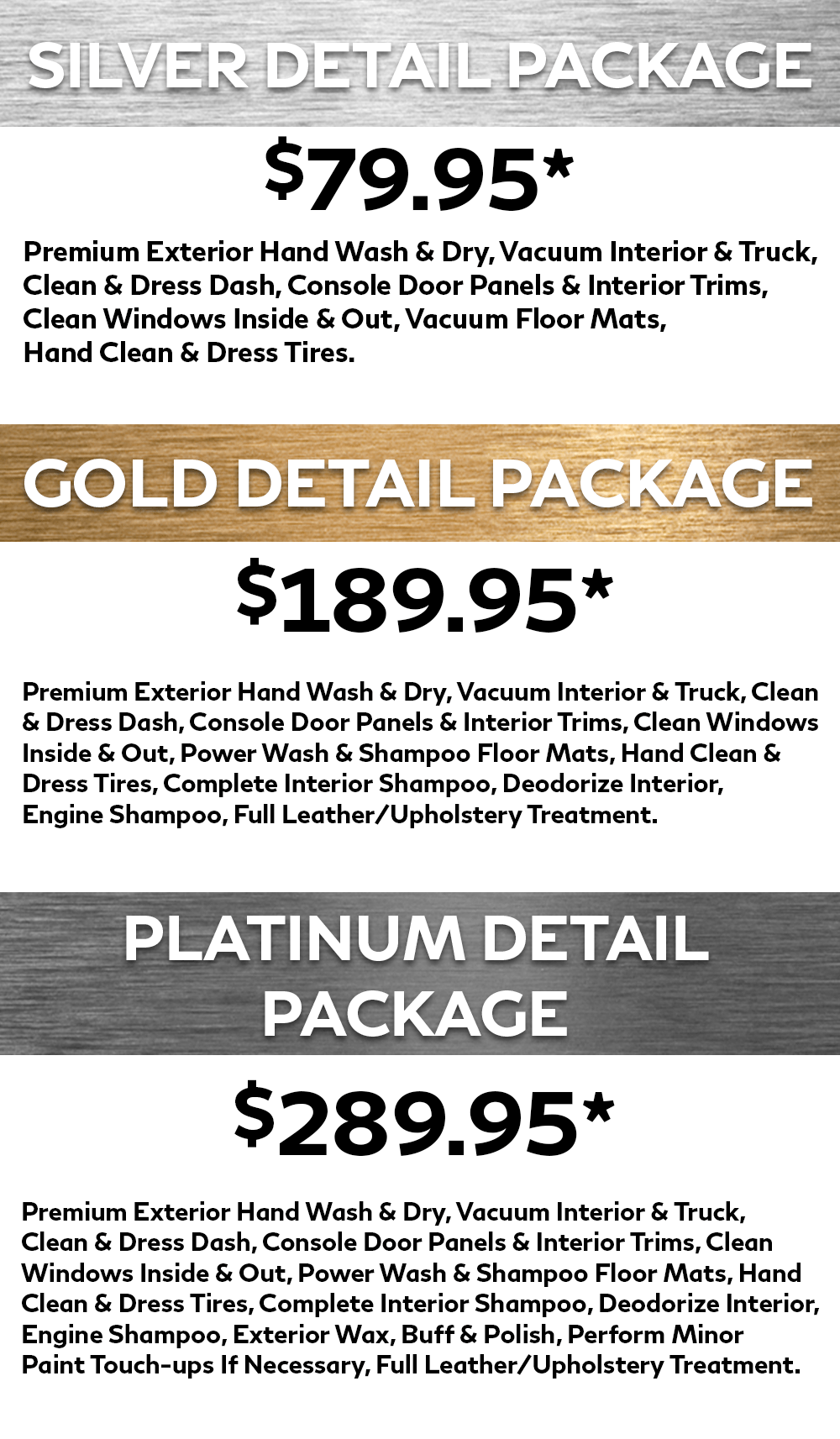 Markham Infiniti Detailing Spa Packages