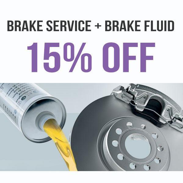 15% OFF Brake Service + Brake Fluid Special