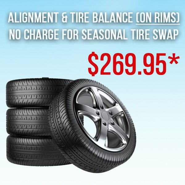 Alignment/Balance (ON RIMS) Incl. Tire Swap